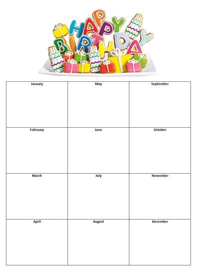 Sample Birthday Calendars Zesloka