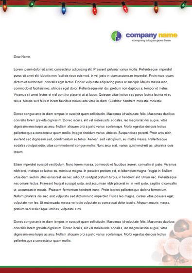 free sample christmas letterhead template