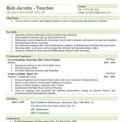 sample elementary teacher resume