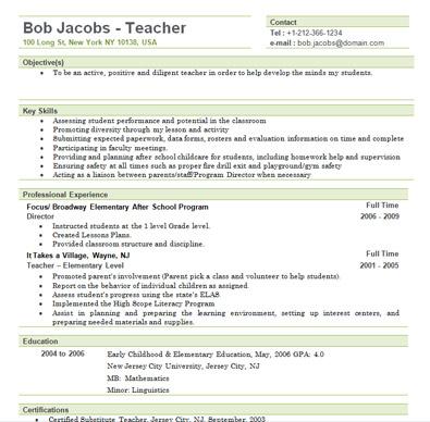 Resume Work Experience For Substitute Teacher