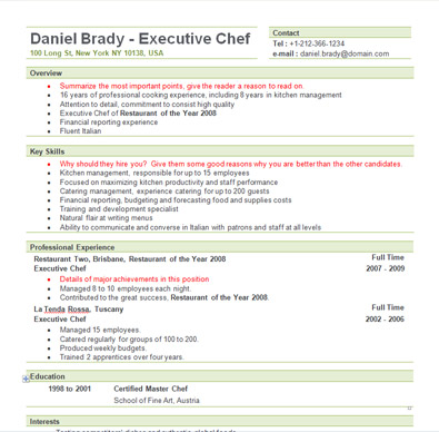 executive chef resume sample executive chef resume - Resume Sample For Cook
