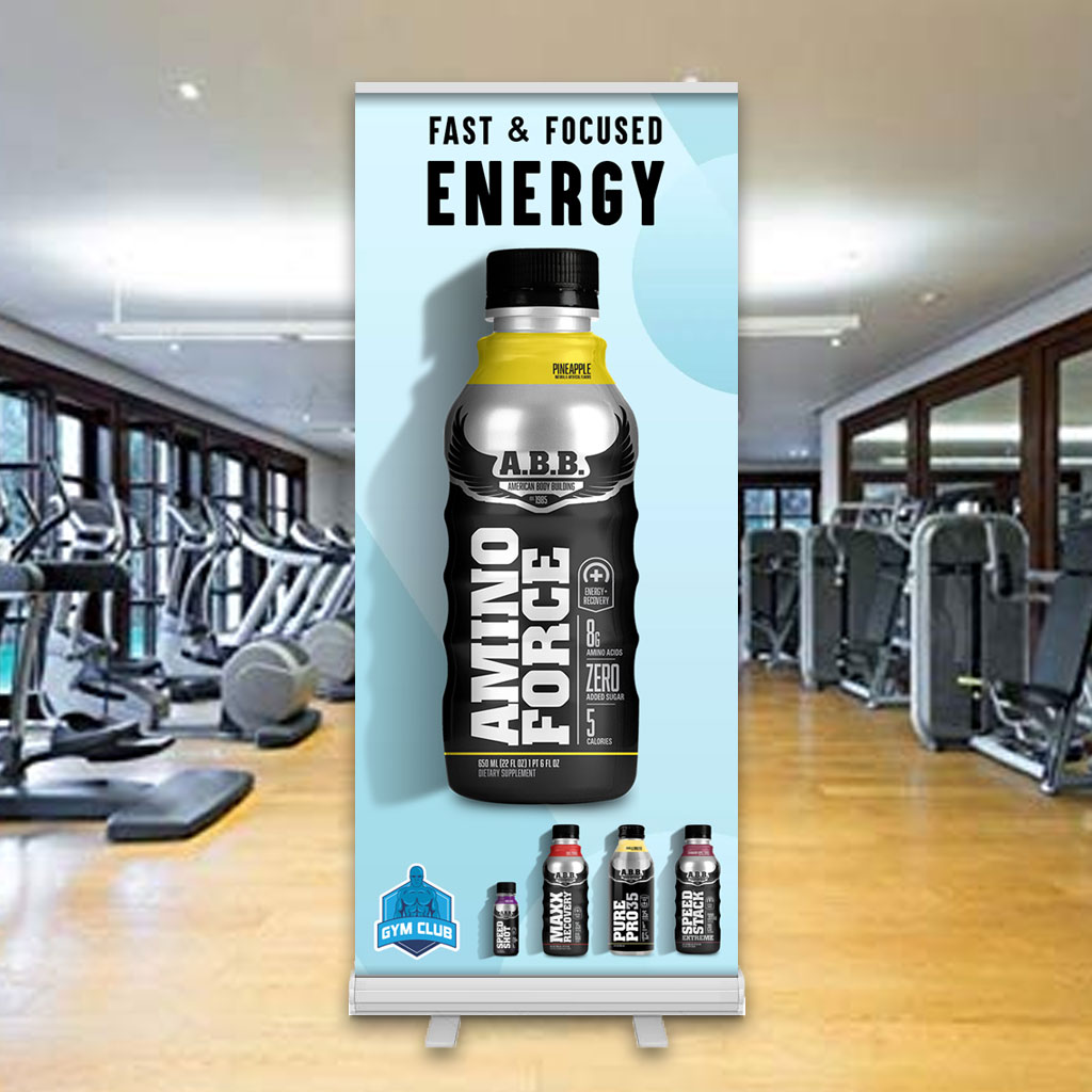 Gym Supplement Drink Banner Stand