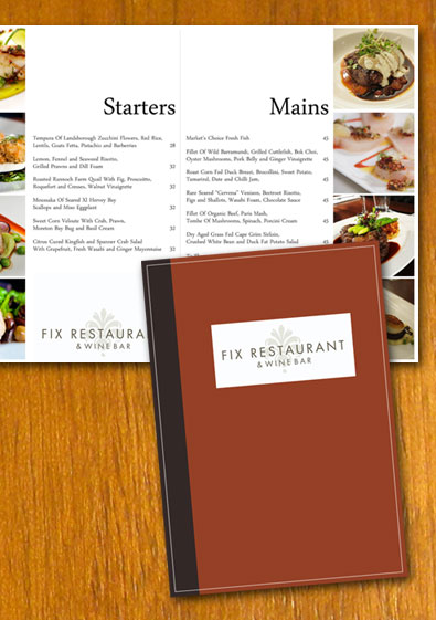 Free sample restaurant menu template