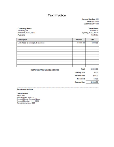 Tax Invoice Template - Template for invoices