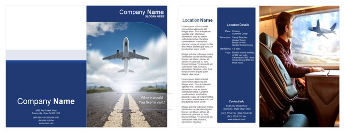 Travel and Flights Single Fold Brochure