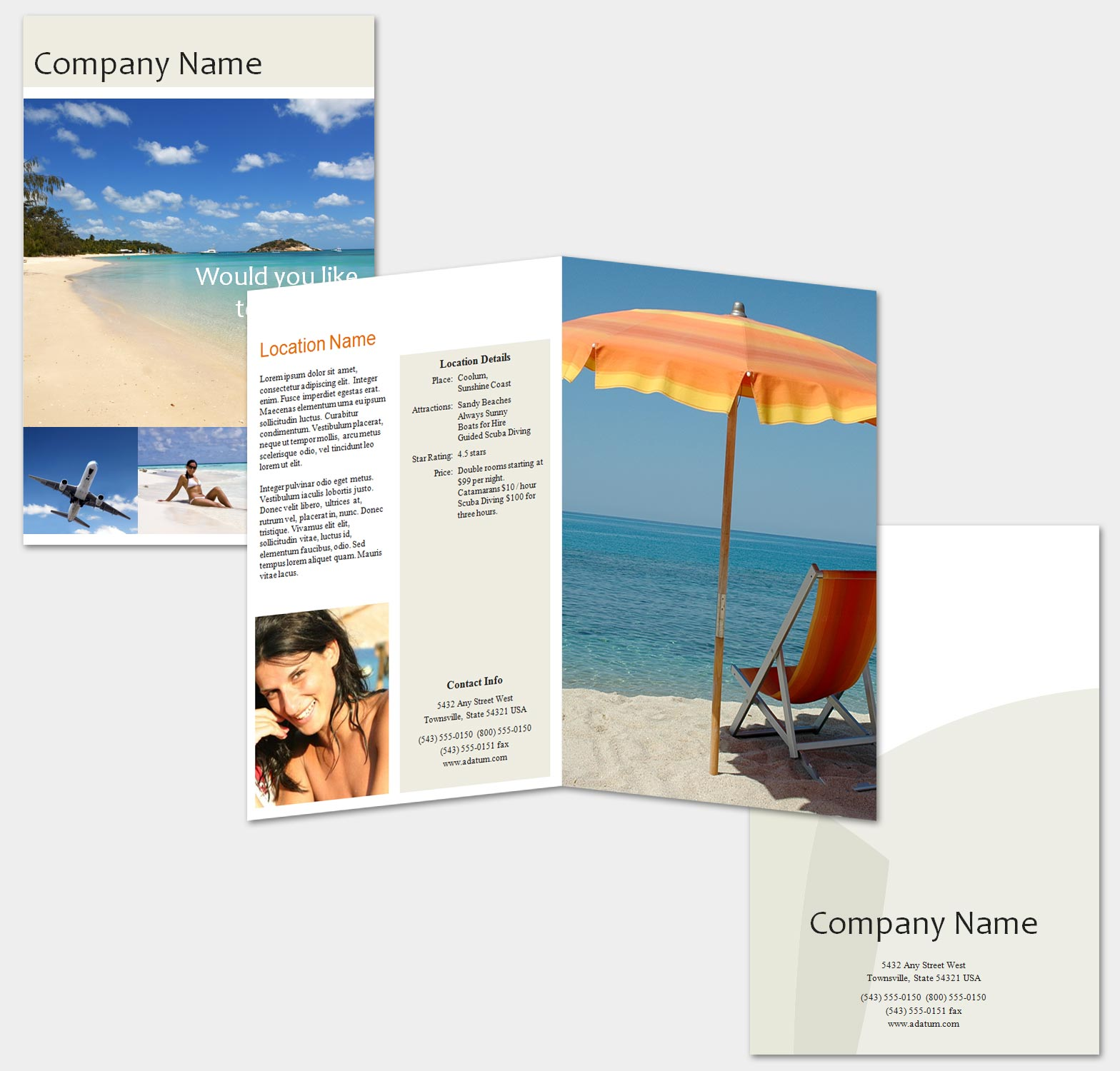 Travel and Tour Single Fold Brochure