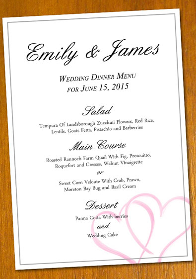 menu templates for weddings - free sample wedding menu template