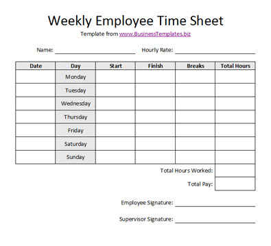 Free Weekly Employee Time Sheet Template Example