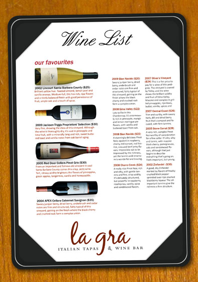Free Sample Wine List Template